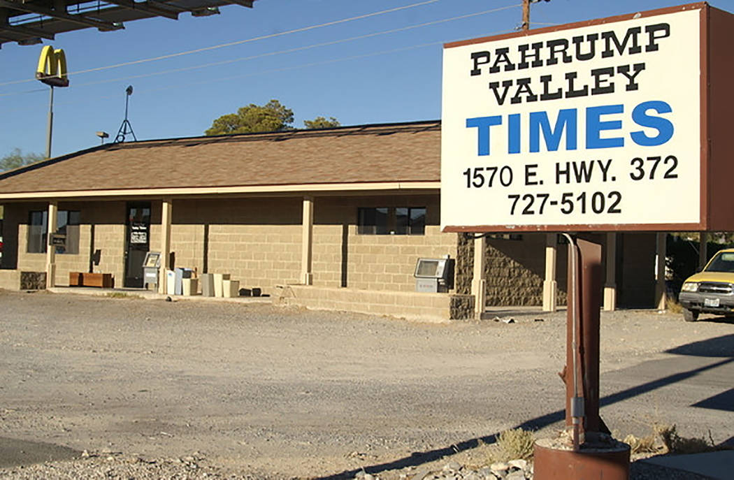 File photo Pictured is the Pahrump Valley Times office at 1570 E. State Route 372 in 2014. Then ...
