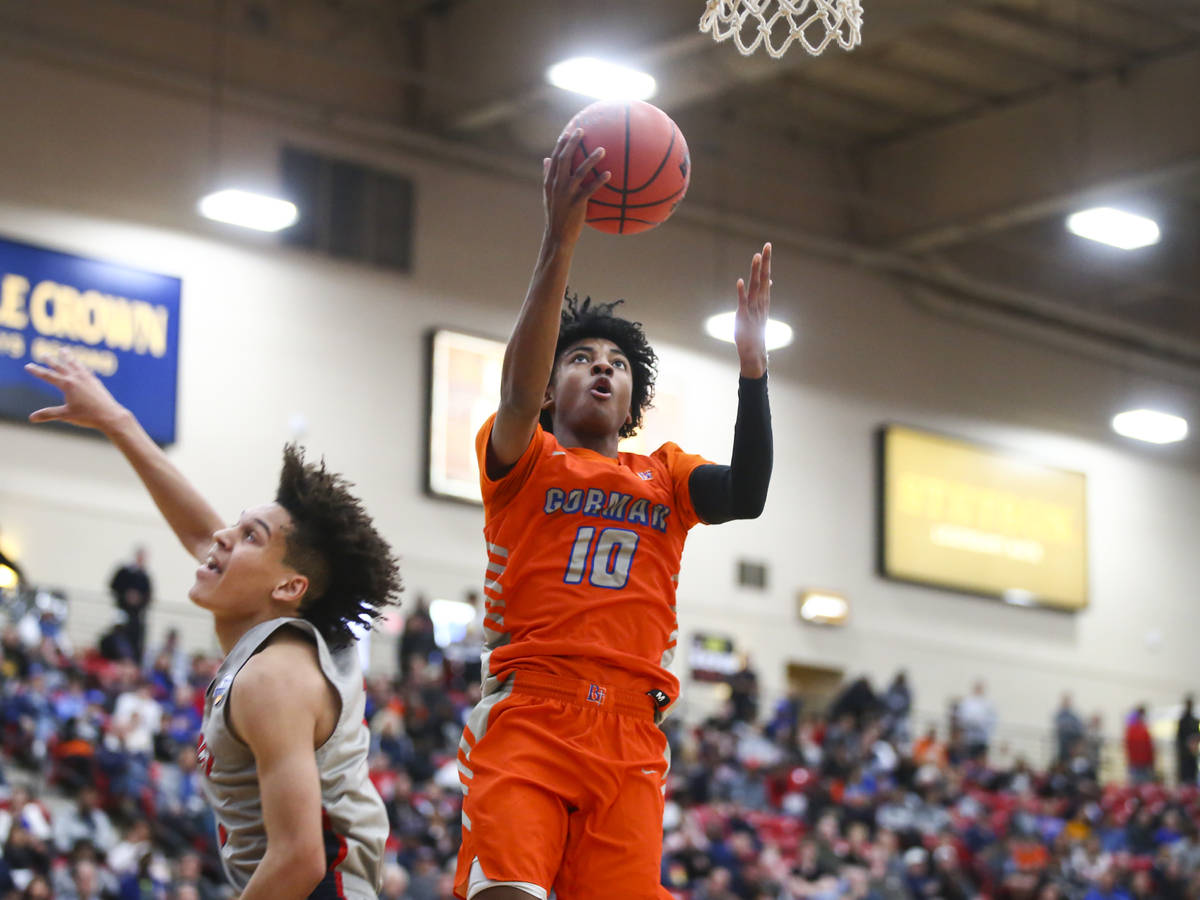 Chase Stevens/Special to the Pahrump Valley Times Bishop Gorman's Zaon Collins goes to the bask ...