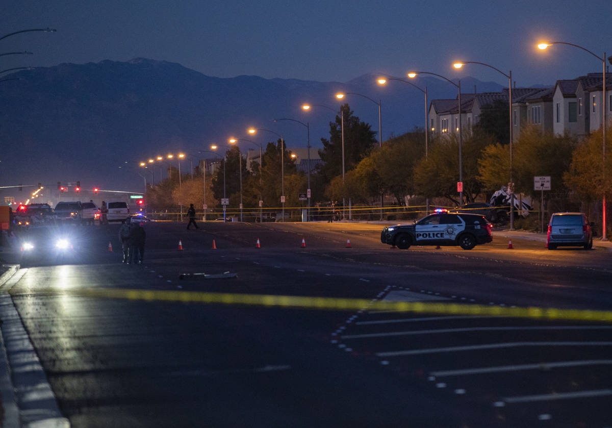 Elizabeth Page Brumley/Special to the Pahrump Valley Times Police investigate a two-vehicle cra ...