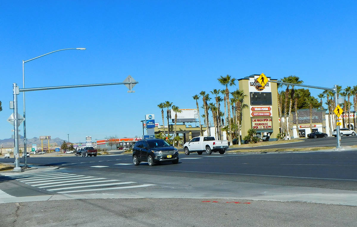 Robin Hebrock/Pahrump Valley Times The new crosswalk in Pahrump was officially completed on Thu ...