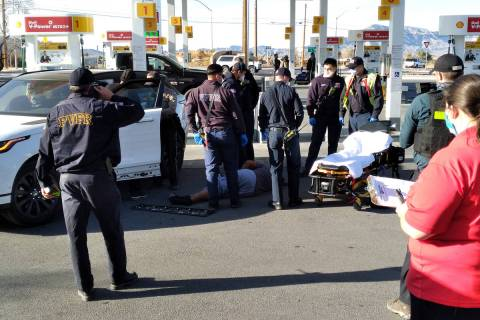 Selwyn Harris/Pahrump Valley Times A woman was transported to Desert View Hospital after she wa ...