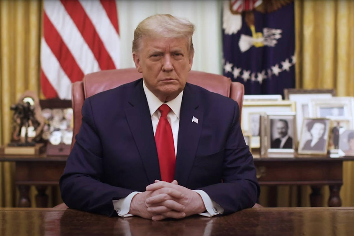 YouTube President Donald Trump speaks from the White House in Washington, DC, on Jan. 13, 2021.