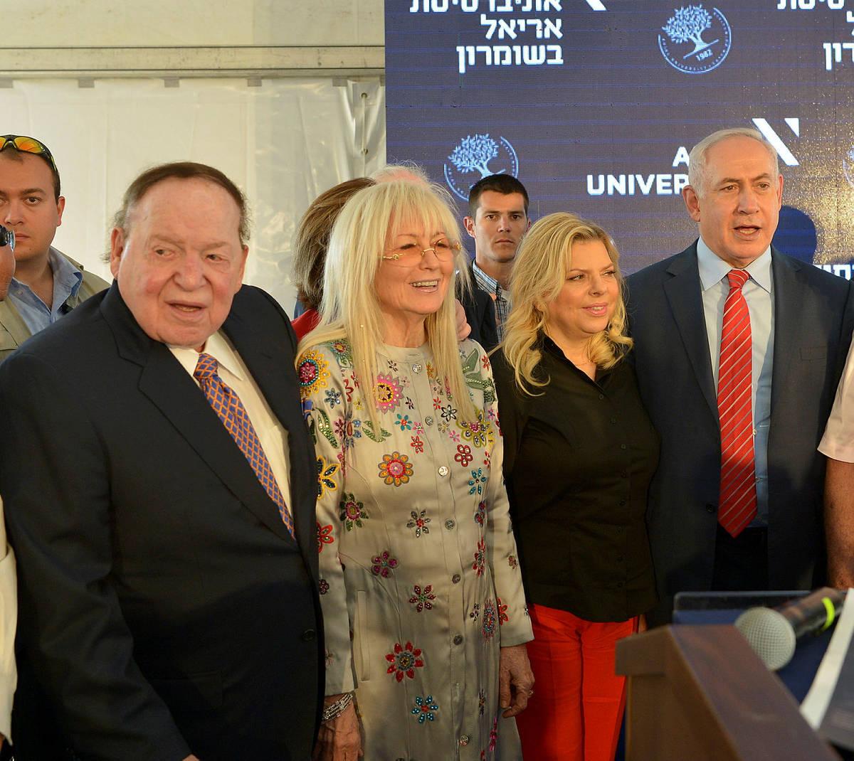 From left, Sheldon Adelson, Mariam Adelson, Sara Netanyahu, Benjamin Netanyahu (Photo by Yossi ...