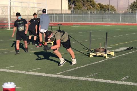 Tom Rysinski/Pahrump Valley Times Pahrump Valley High School football player Elijah Begin pulls ...
