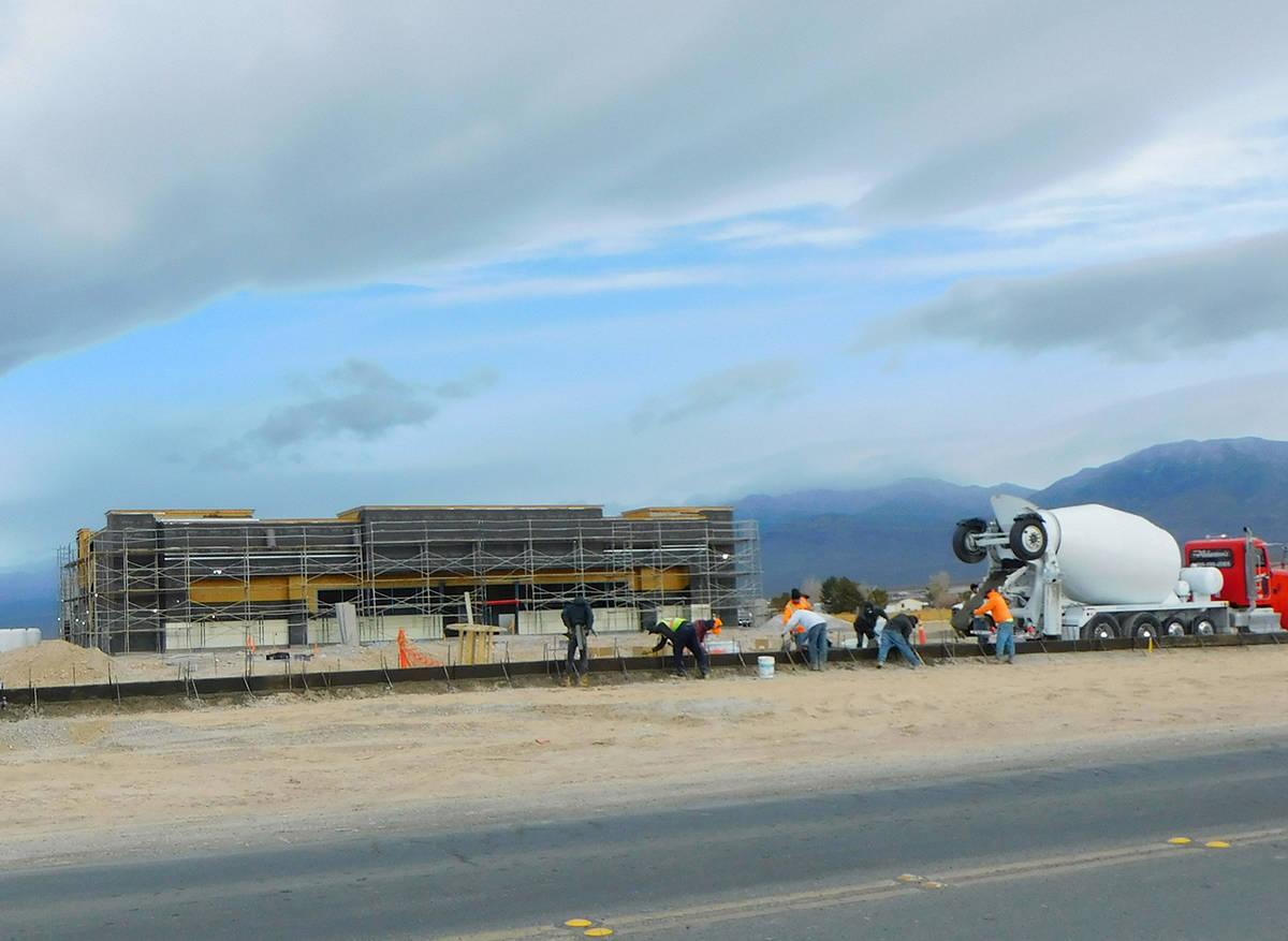 Robin Hebrock/Pahrump Valley Times This photo, taken Dec. 31, 2020, shows construction crews ha ...