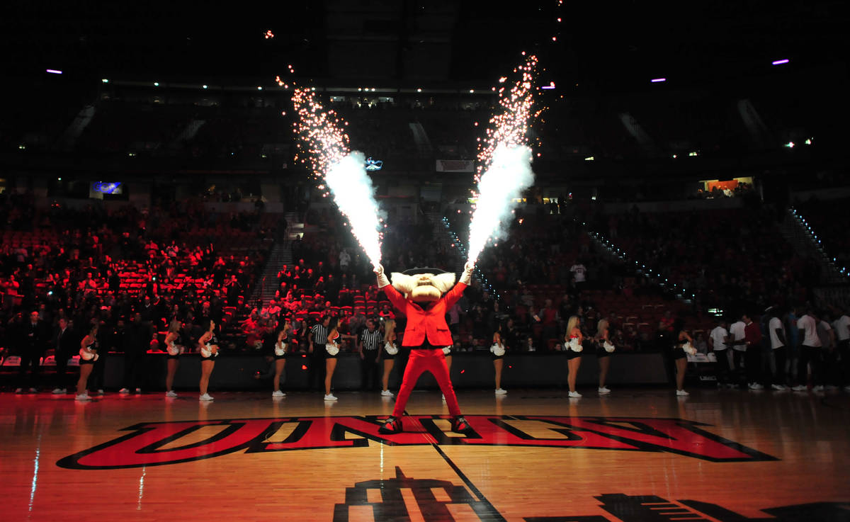 Hey Reb! shoots off fireworks before the UNLV Rebels and the New Mexico Lobos NCAA basketball g ...