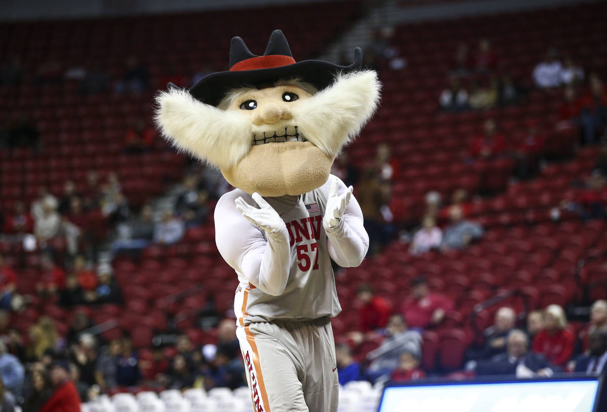 Hey Reb! entertains fans during the second half of a basketball game between UNLV and UC Rivers ...