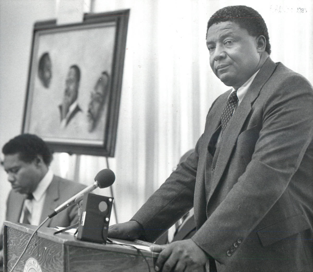 Las Vegas Review-Journal--file Nevada state Sen. Joe Neal addresses a 1985 gathering at UNLV in ...
