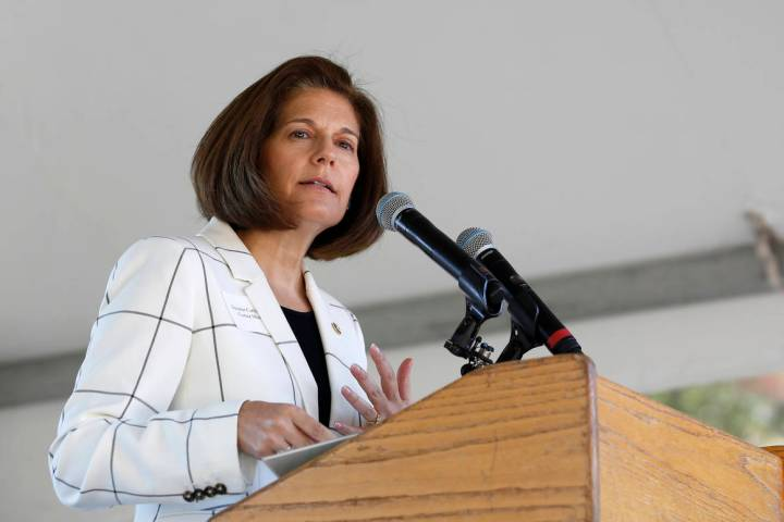 U. S. Sen. Catherine Cortez Masto, D-Nevada, speaks at the 23rd Annual Lake Tahoe Summit at Sou ...
