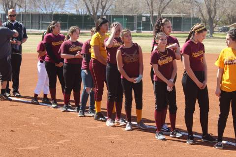 File photo Pahrump youth softball players line up before a fundraiser before the 2018 season. T ...