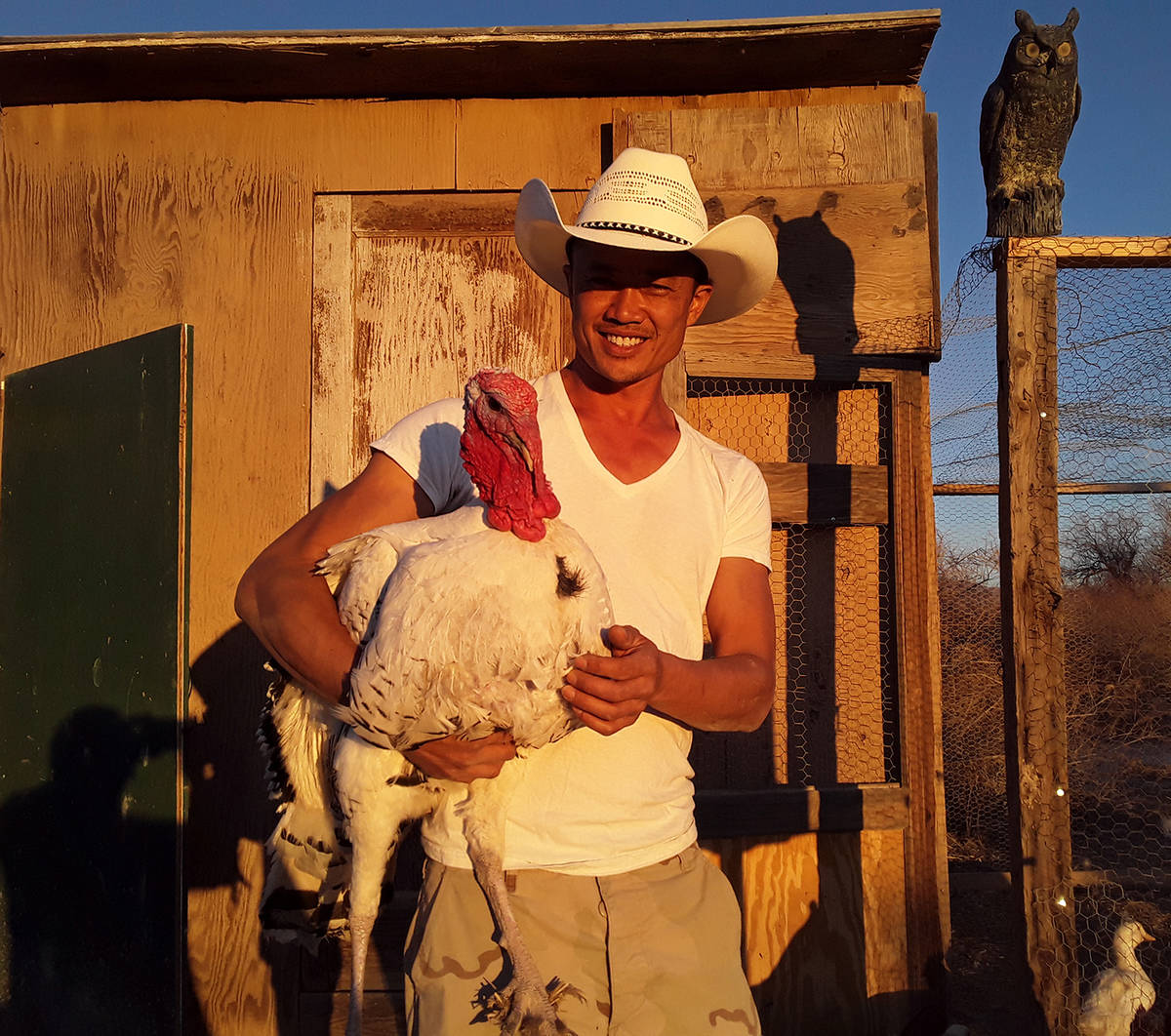 Selwyn Harris/Pahrump Valley Times Alex De Jong moved to Pahrump to become a farmer after ownin ...