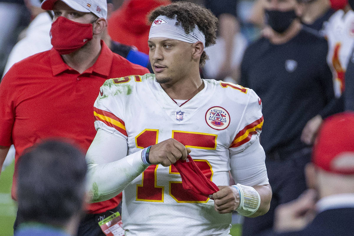 L.E. Baskow/Special to the Pahrump Valley Times Quarterback Patrick Mahomes walks off the field ...