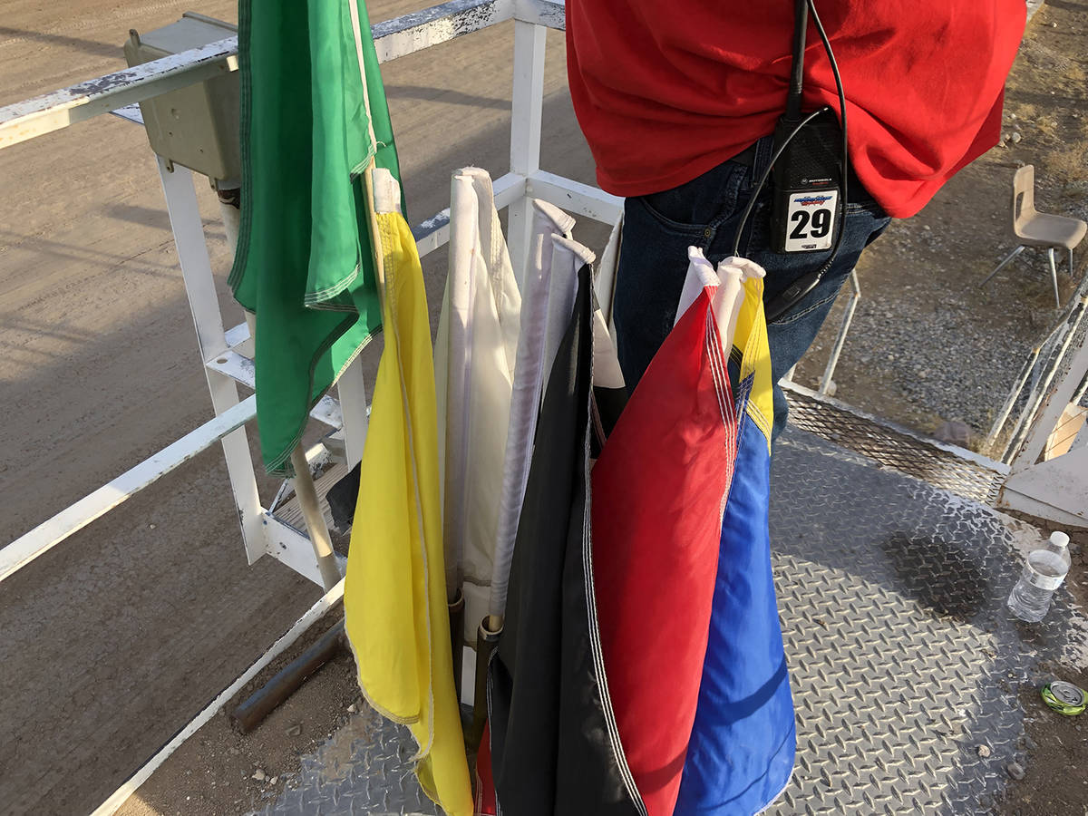 Tom Rysinski/Pahrump Valley Times Flags for every occasion are ready for Pahrump Valley Speedwa ...
