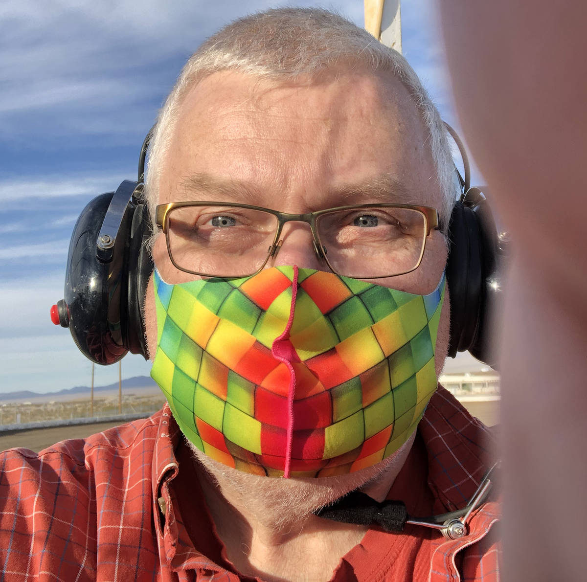 Tom Rysinski/Pahrump Valley Times Mask up, headset on. Ready for racing at Pahrump Valley Speedway.
