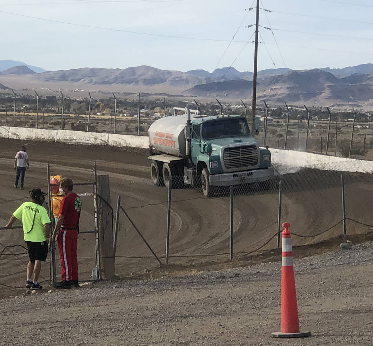 Tom Rysinski/Pahrump Valley Times The track at Pahrump Valley Speedway gets watered down before ...