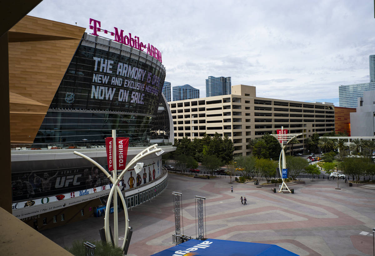 Chase Stevens/Special to the Pahrump Valley Times A near-empty Toshiba Plaza and T-Mobile Arena ...