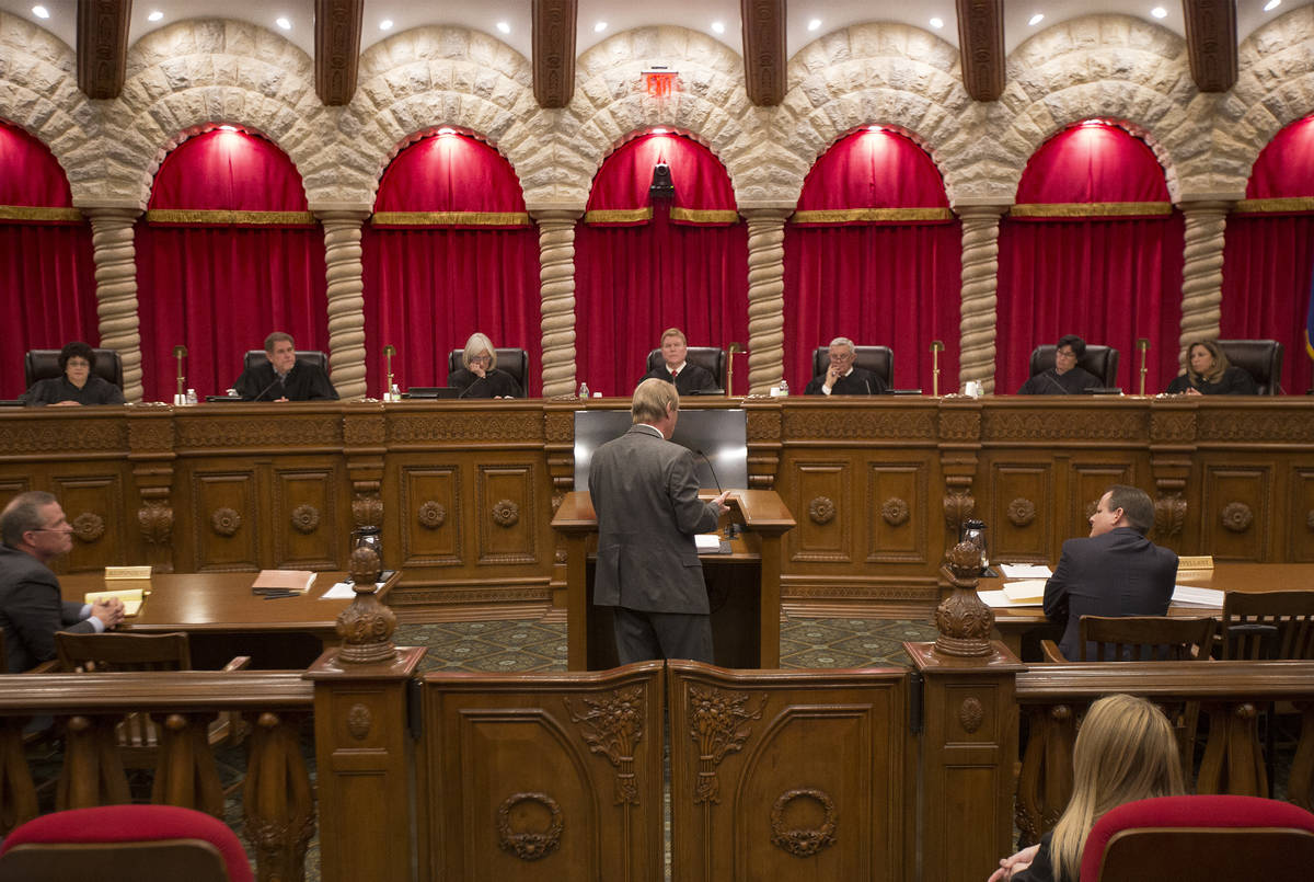 Rachel Aston/Las Vegas Review-Journal The Nevada Supreme Court Justice during the first argumen ...