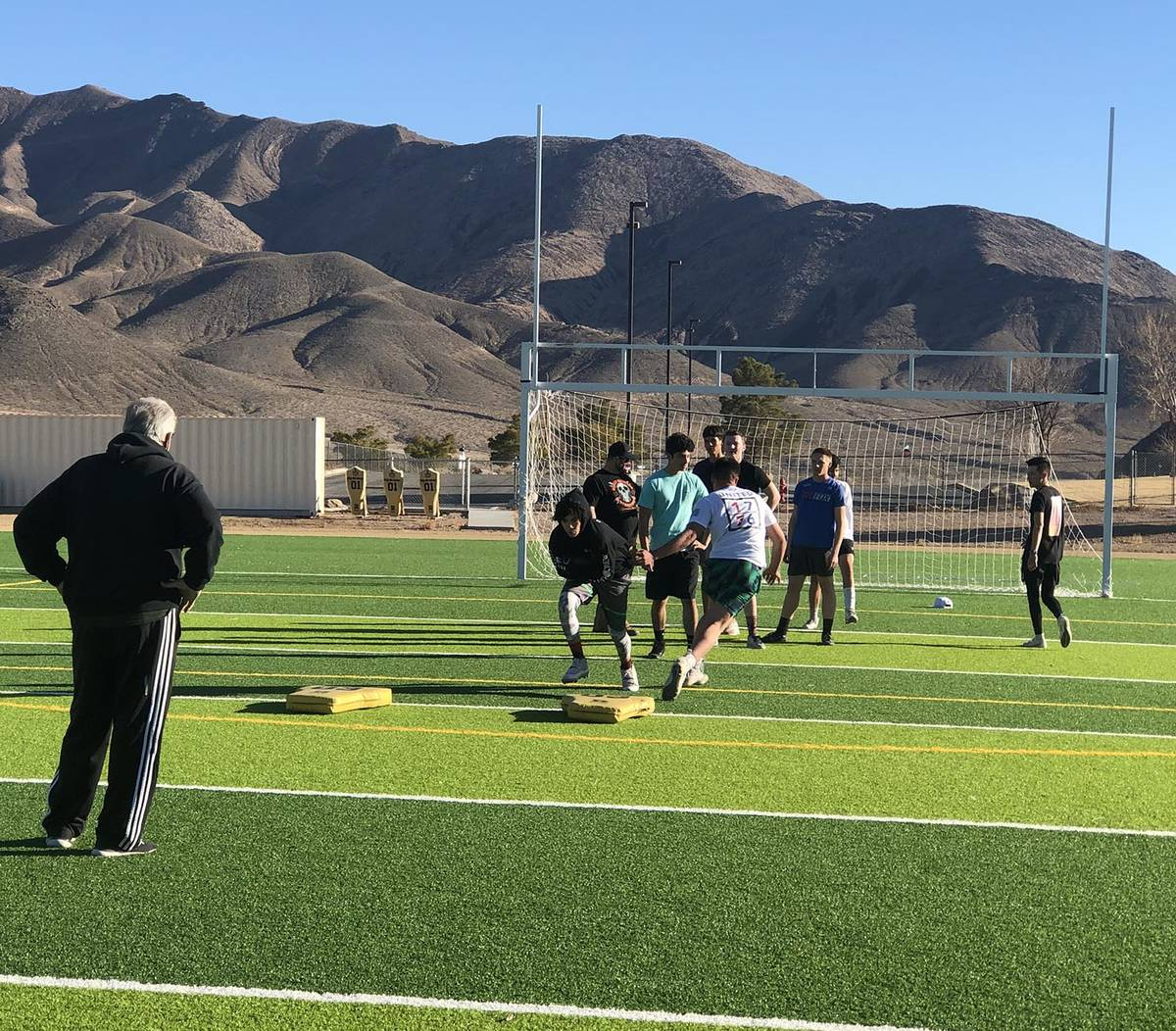Tom Rysinski/Pahrump Valley Times Beatty High School football players didn't know there would b ...