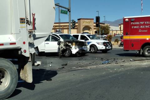 Selwyn Harris/Pahrump Valley Times Lanes along southbound Highway 160 were completely shut down ...
