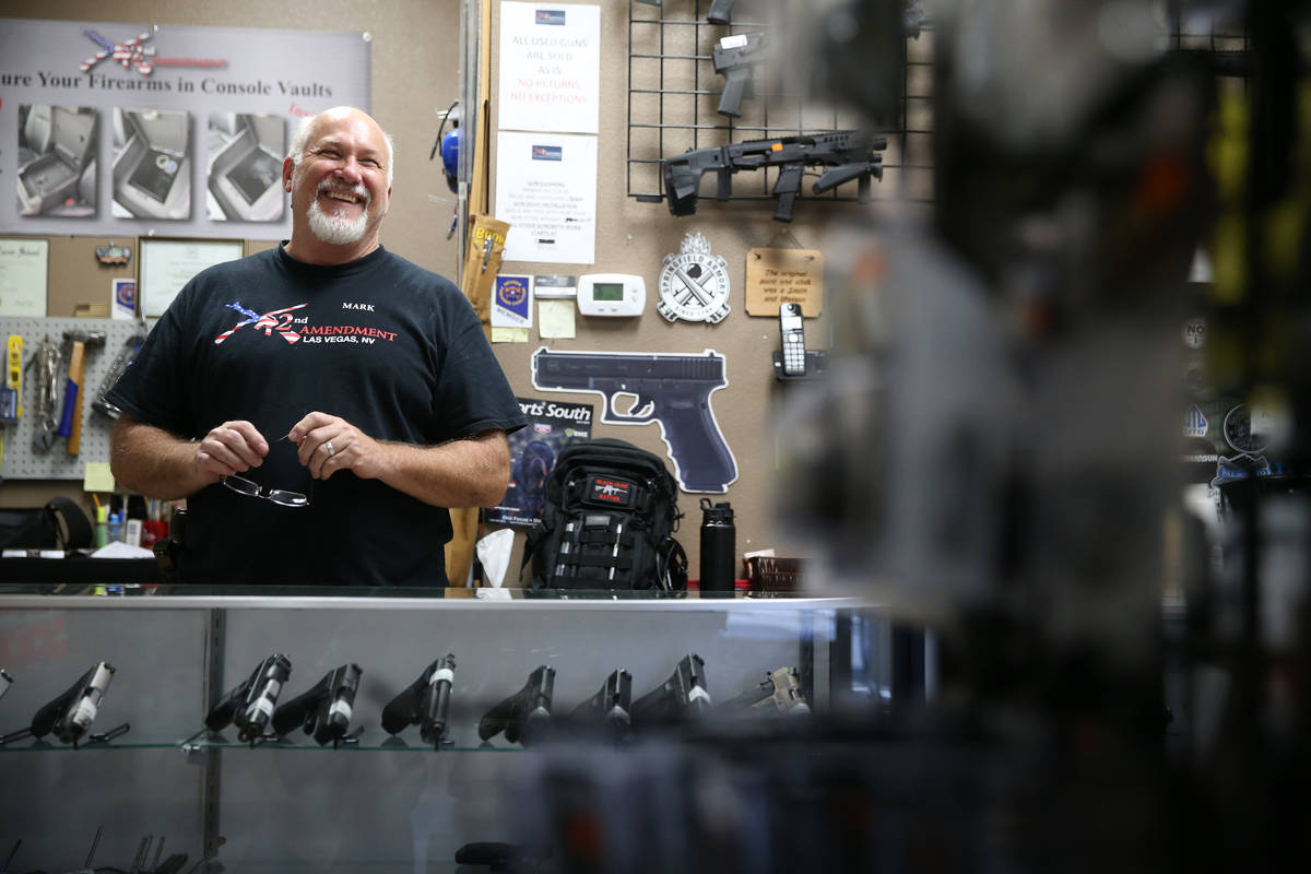 Mark Hames, owner of 2nd Amendment Gun Shop, is interviewed in his Las Vegas store in this Sept ...