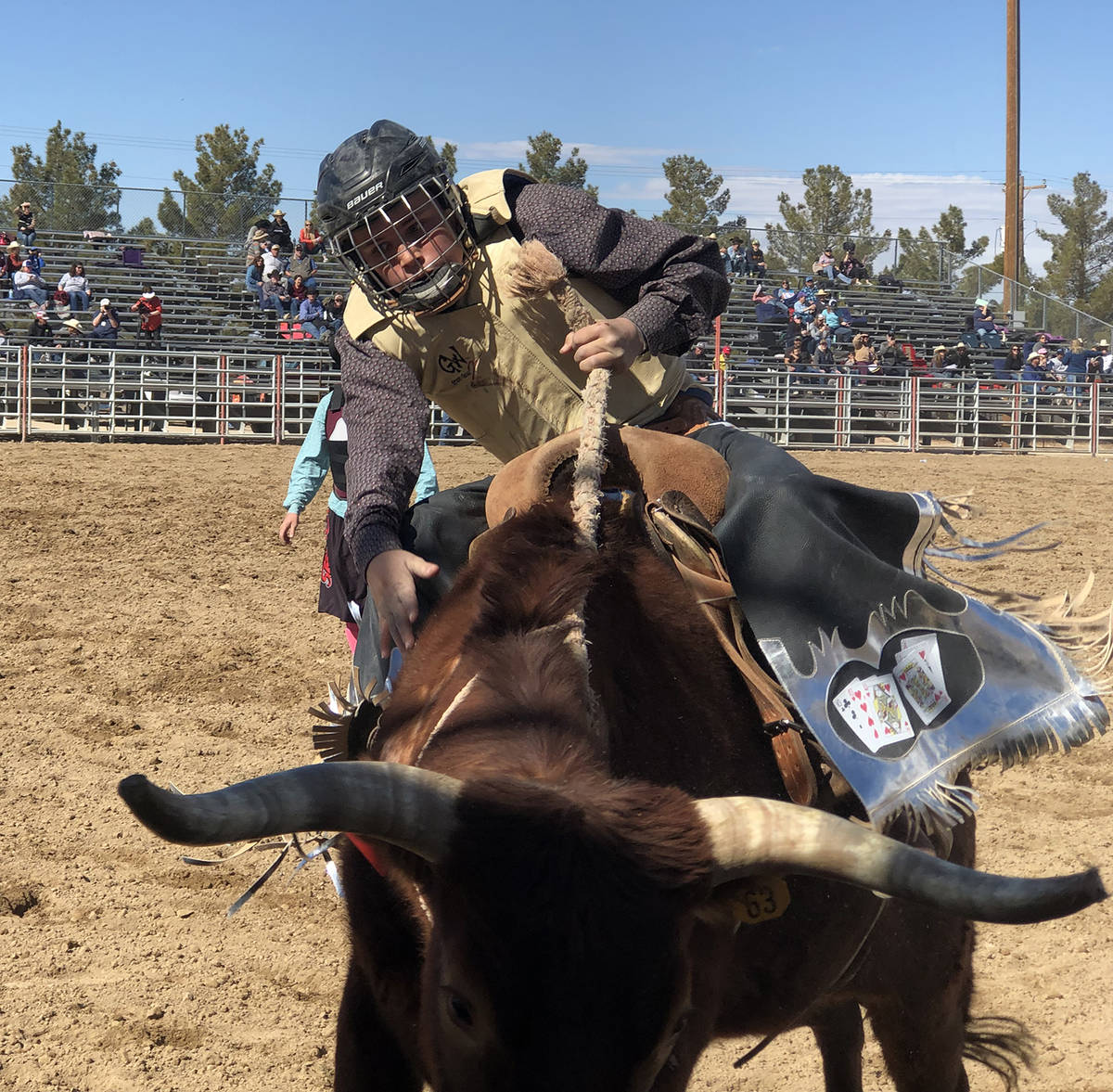 Tom Rysinski/Pahrump Valley Times Seventh-grader Jace Jepson finishes his first go during the j ...