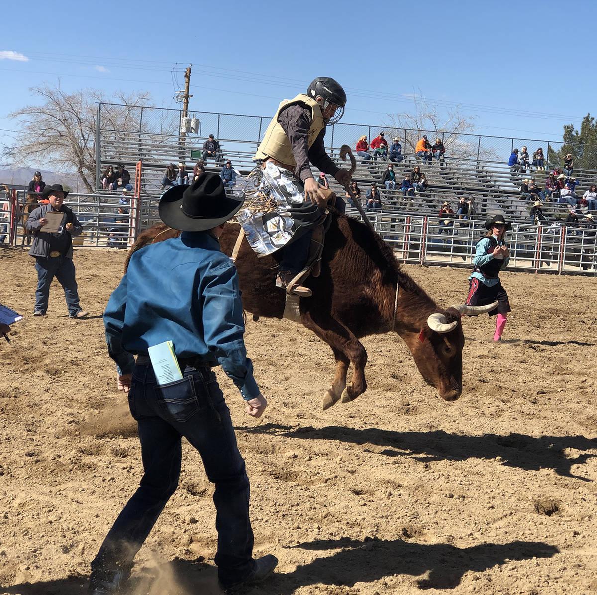 Tom Rysinski/Pahrump Valley Times Seventh-grader Jace Jepson of the Pahrump Valley Rodeo Club c ...