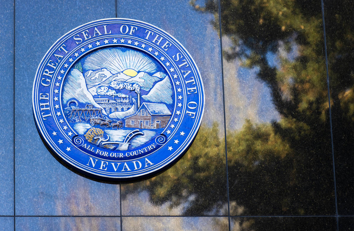 Benjamin Hager/Las Vegas Review-Journal Signage at the Nevada State Legislature Building at the ...