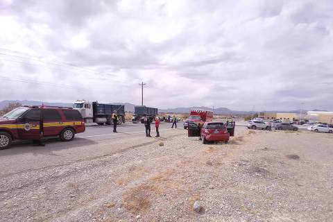 Selwyn Harris/Pahrump Valley Times No serious injuries were reported following a two-vehicle co ...