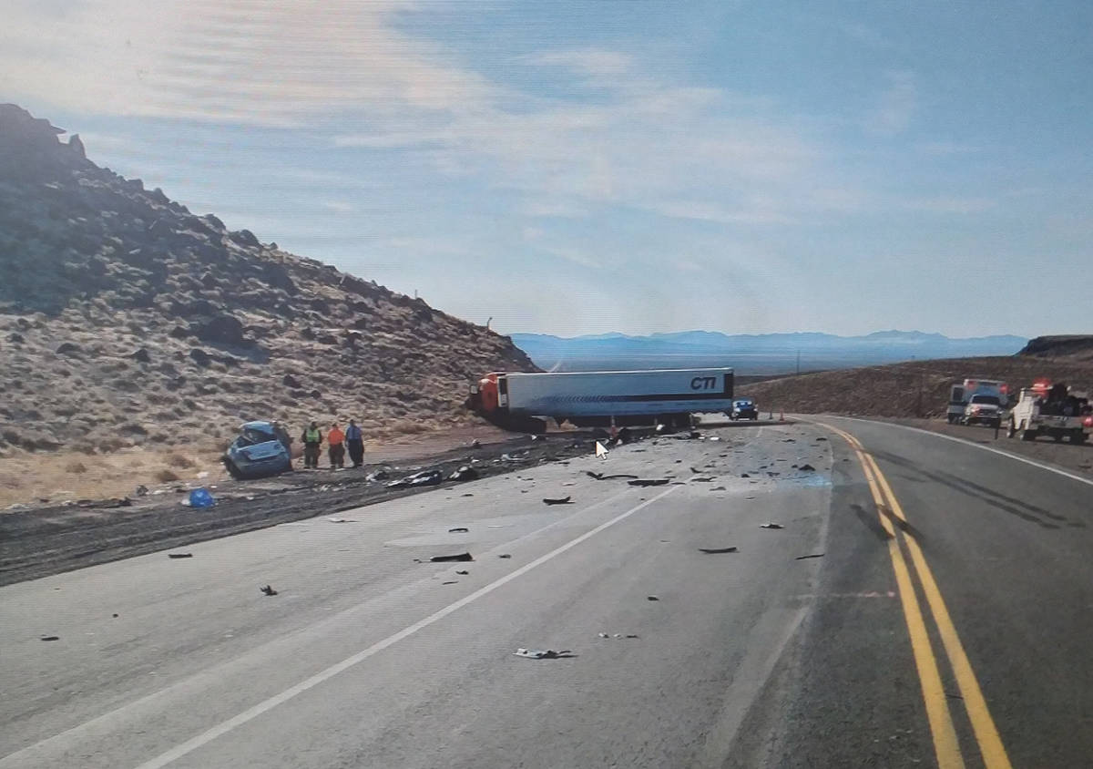 Special to the Pahrump Valley Times One person was killed following a two-vehicle, head-on coll ...