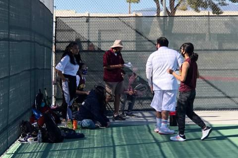 Tom Rysinski/Pahrump Valley Times Pahrump Valley High School tennis coach Mike Dela Rosa talks ...