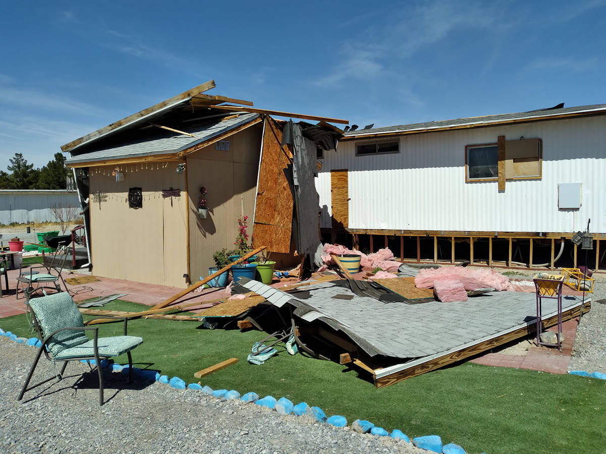 Selwyn Harris/Pahrump Valley Times Winds exceeding 40 miles per hour tore the roof off of a res ...