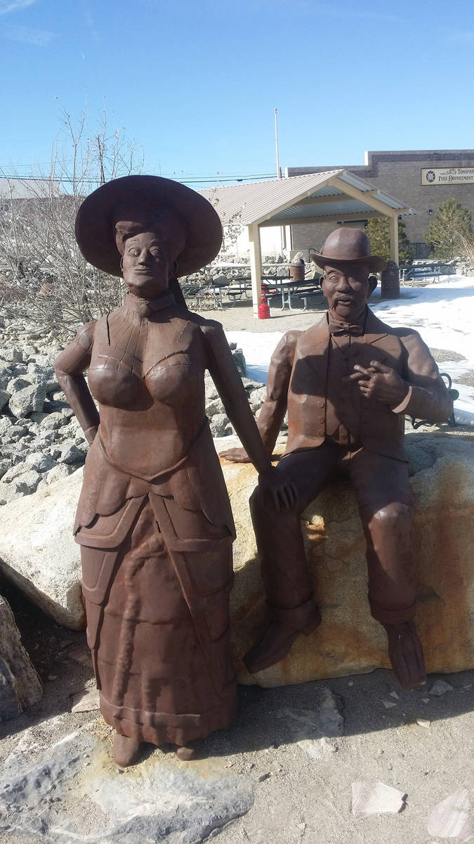 Times-Bonanza & Goldfield News--file A monument to Jim and Belle Butler is shown in a 2016 pho ...