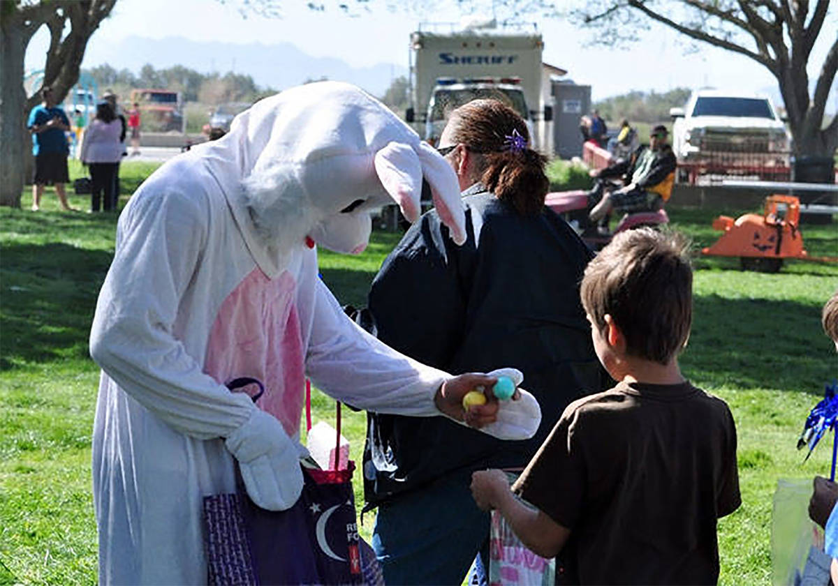 Selwyn Harris/Pahrump Valley Times In this file photo, the Easter Bunny can be seen handing out ...