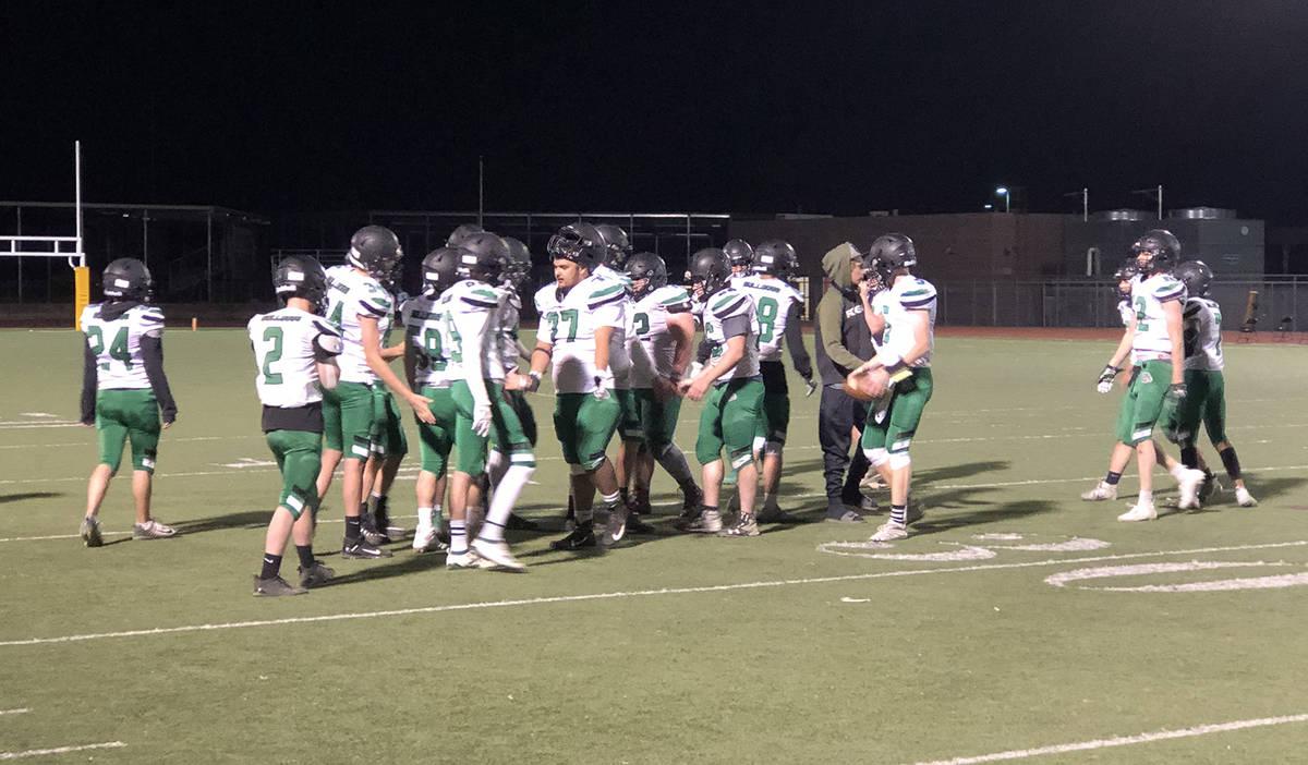 Tom Rysinski/Pahrump Valley Times The Virgin Valley High School football team has a muted celeb ...