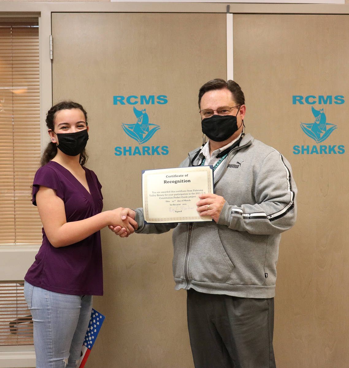Special to the Pahrump Valley Times RCMS eighth grade student Analise Veloz, who was absent for ...