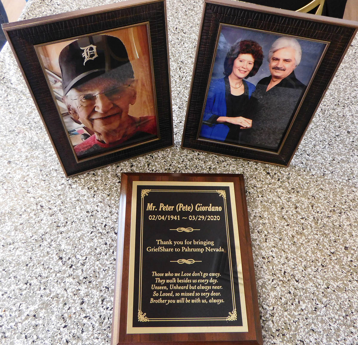 Robin Hebrock/Pahrump Valley Times Two photographs and a special plaque dedicated to the memory ...
