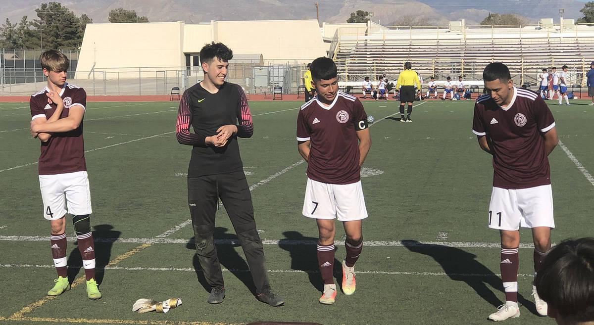 Tom Rysinski/Pahrump Valley Times Pahrump Valley High School senior boys soccer players, from l ...