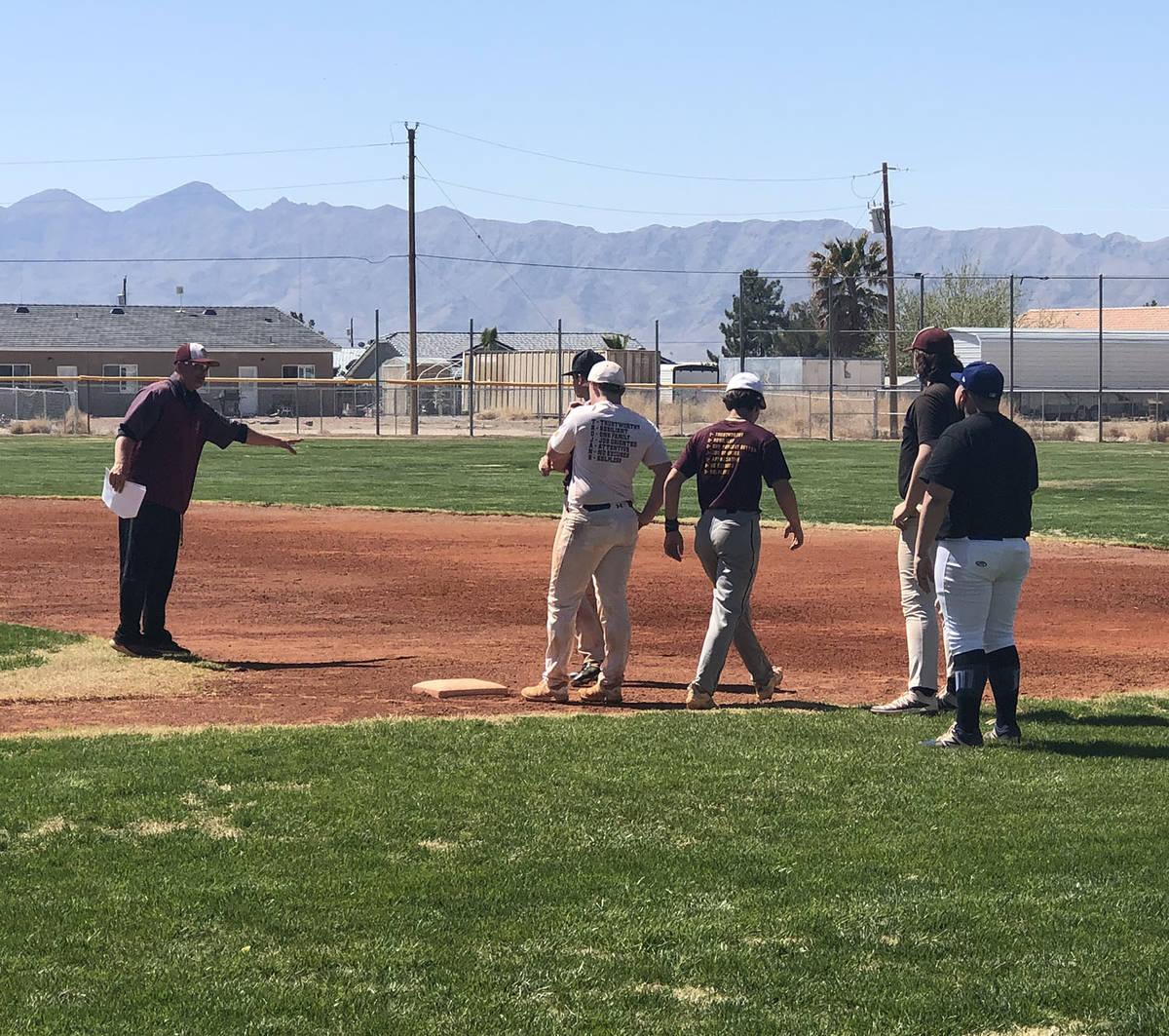Tom Rysinski/Pahrump Valley Times Pahrump Valley High School baseball coach Brian Hayes explain ...