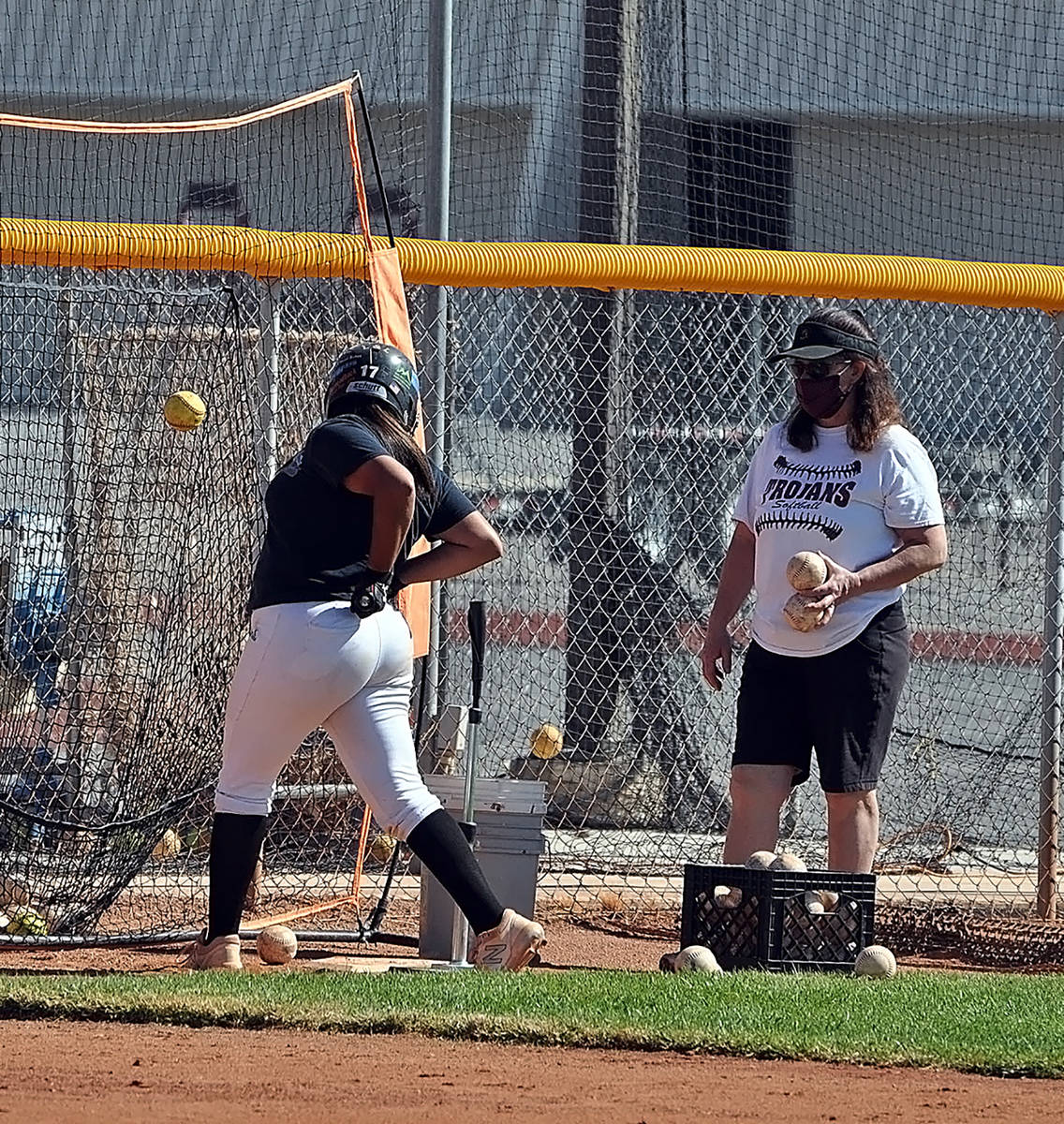 Horace Langford Jr./Pahrump Valley Times Assistant softball coach Susan Toomer monitors a playe ...