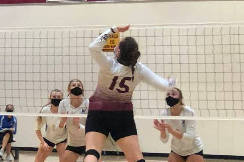 Tom Rysinski/Pahrump Valley Times Pahrump Valley High School senior Kate Daffer goes up for a k ...