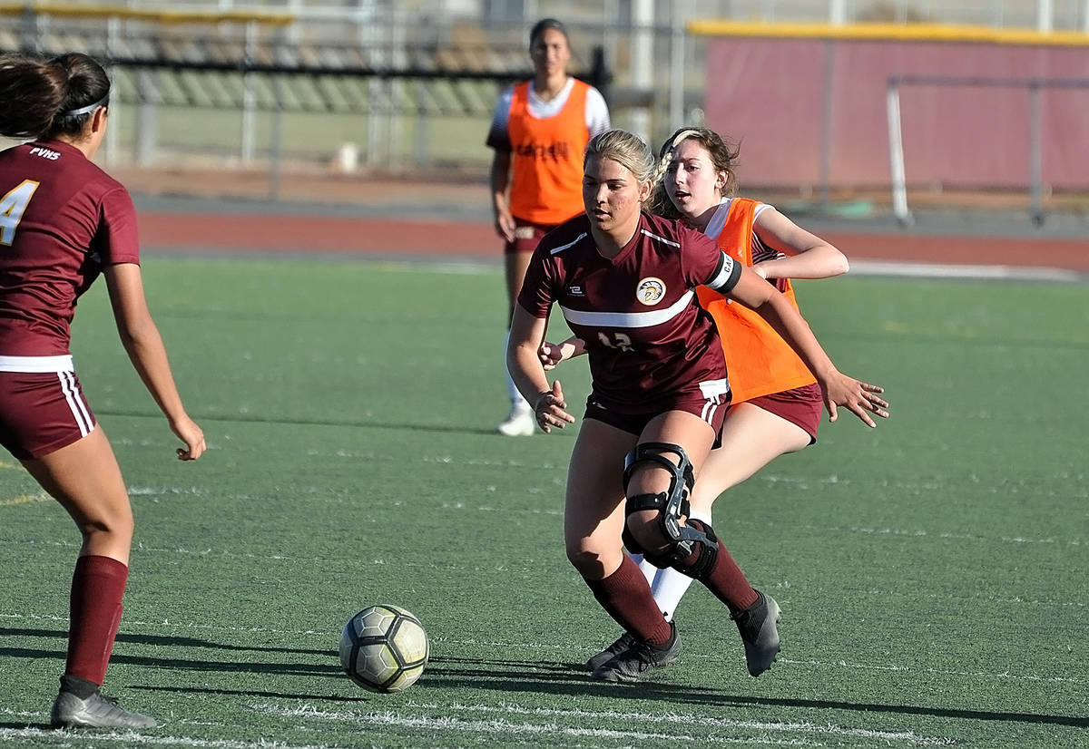 Horace Langford Jr./Pahrump Valley Times Senior Maddy Souza controls the ball for Pahrump Valle ...