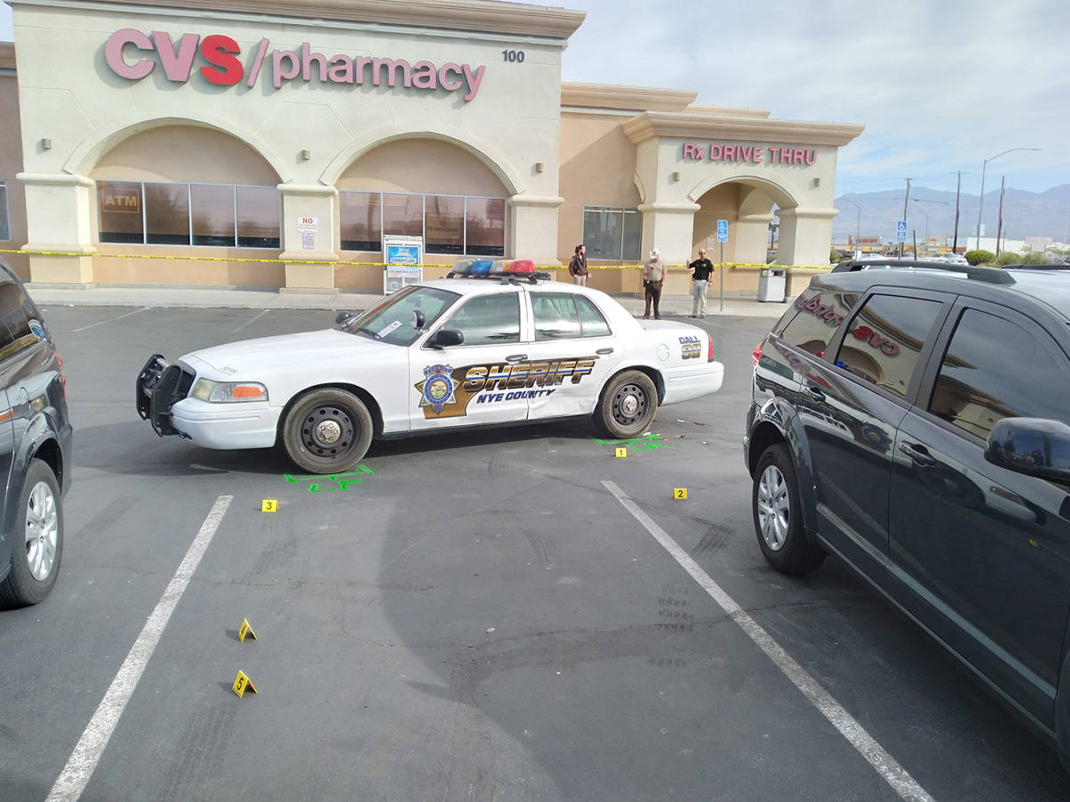 Selwyn Harris/Pahrump Valley Times A Nye County Sheriff's Office deputy received minor injur ...