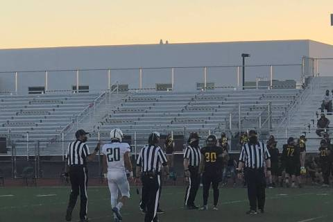 Tom Rysinski/Pahrump Valley Times Captains Fabian Soriano (30) of Pahrump Valley and Gavin Tham ...