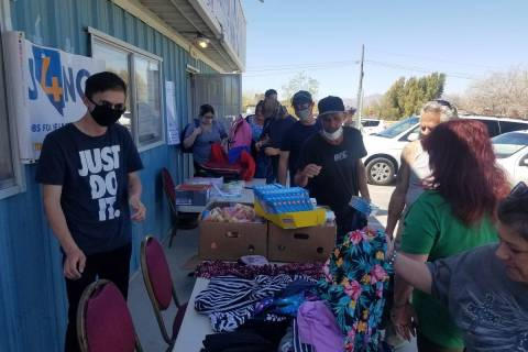J4NG/Special to the Pahrump Valley Times J4NG students in Pahrump provided about 20 backpacks ...