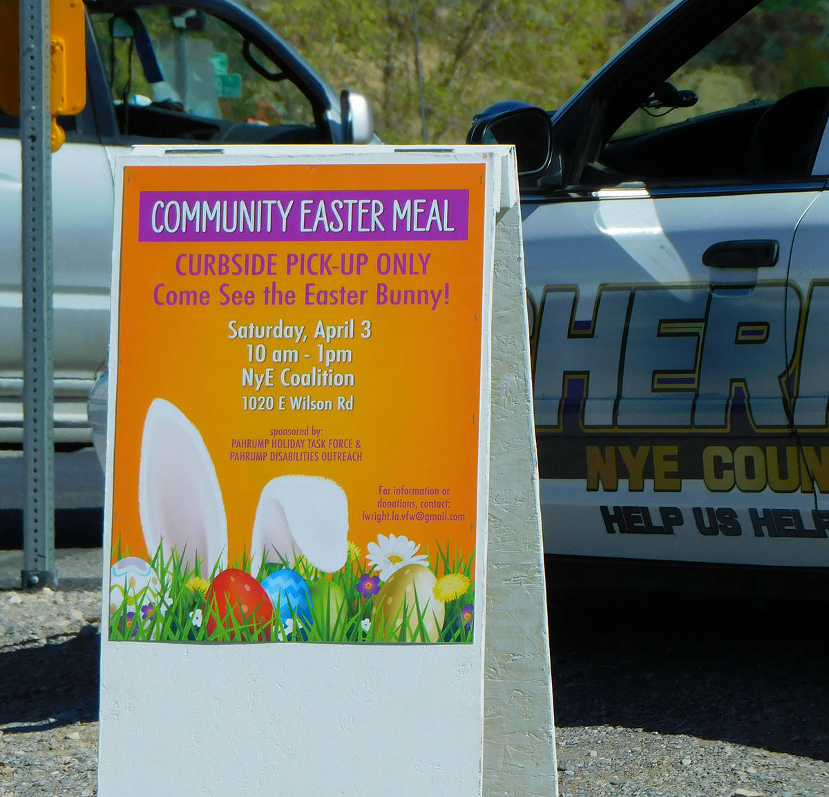 Robin Hebrock/Pahrump Valley Times A sign helped direct Community Easter attendees on where to go.