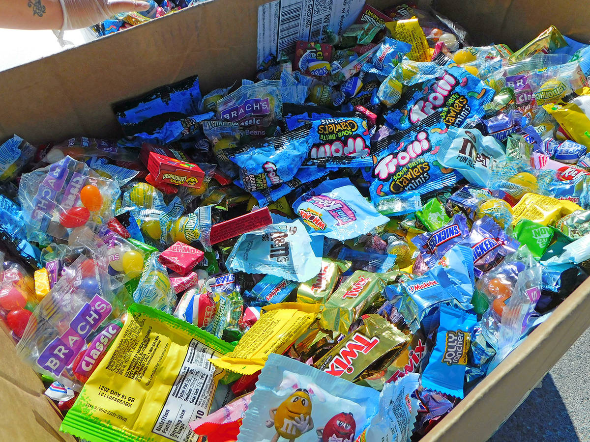 Robin Hebrock/Pahrump Valley Times PDOP came armed with a large box filled with candy to hand o ...
