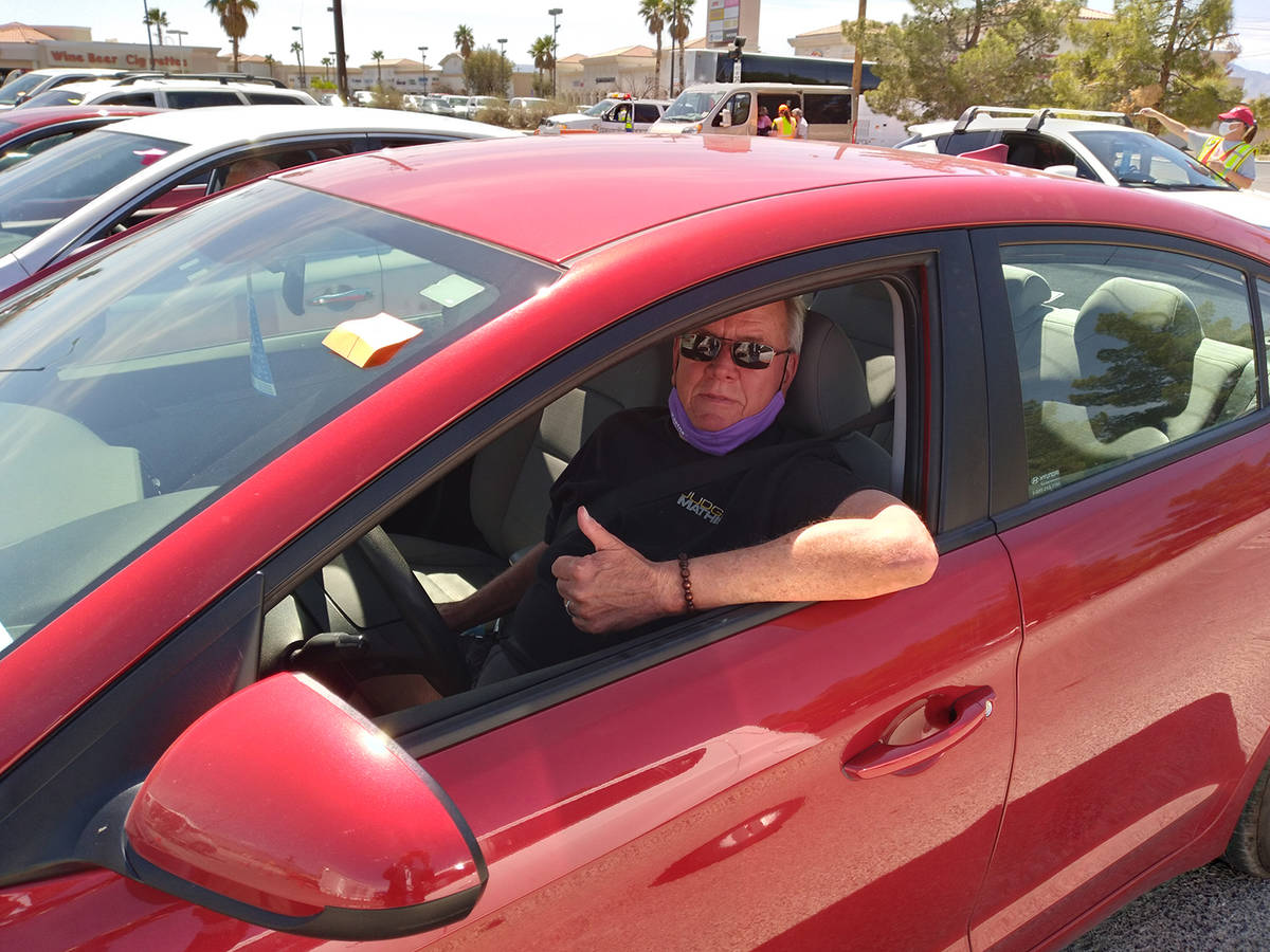 Selwyn Harris/Pahrump Valley Times Pahrump resident Daniel Miller had no qualms about waiting m ...
