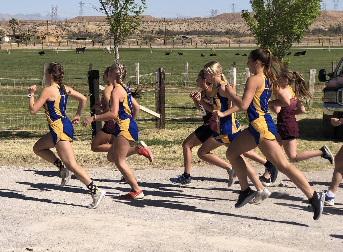 Tom Rysinski/Pahrump Valley Times Runners from Moapa Valley and Pahrump Valley high schools nea ...