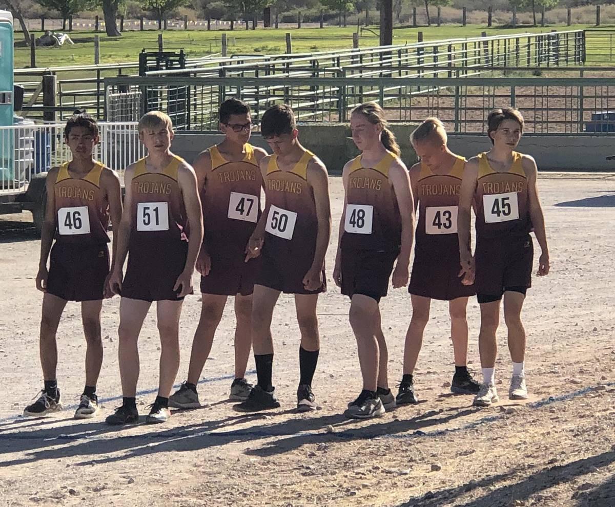 Tom Rysinski/Pahrump Valley Times The Pahrump Valley High School boys cross country team awaits ...