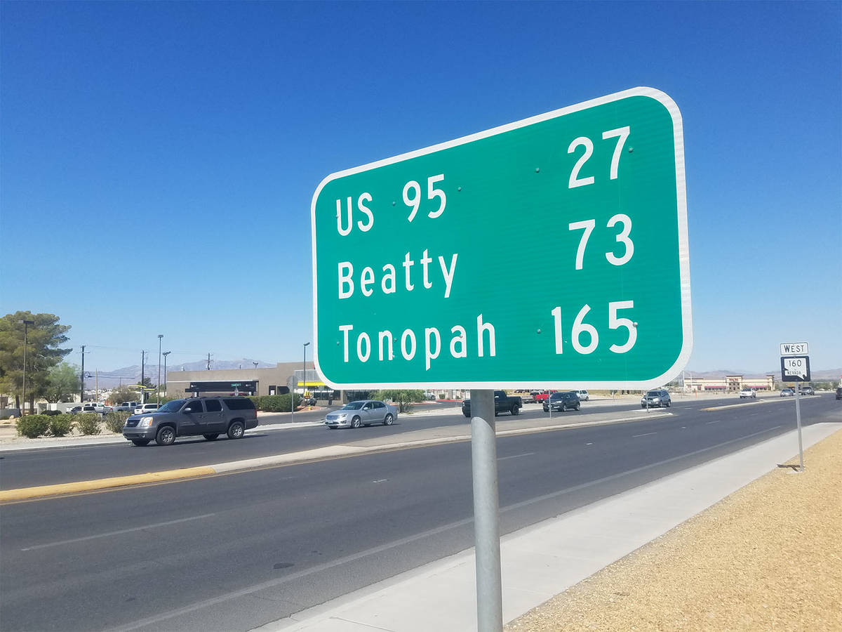 Pahrump Valley Times file photo A sign in Pahrump shows the distance in Tonopah. Tonopah is cen ...